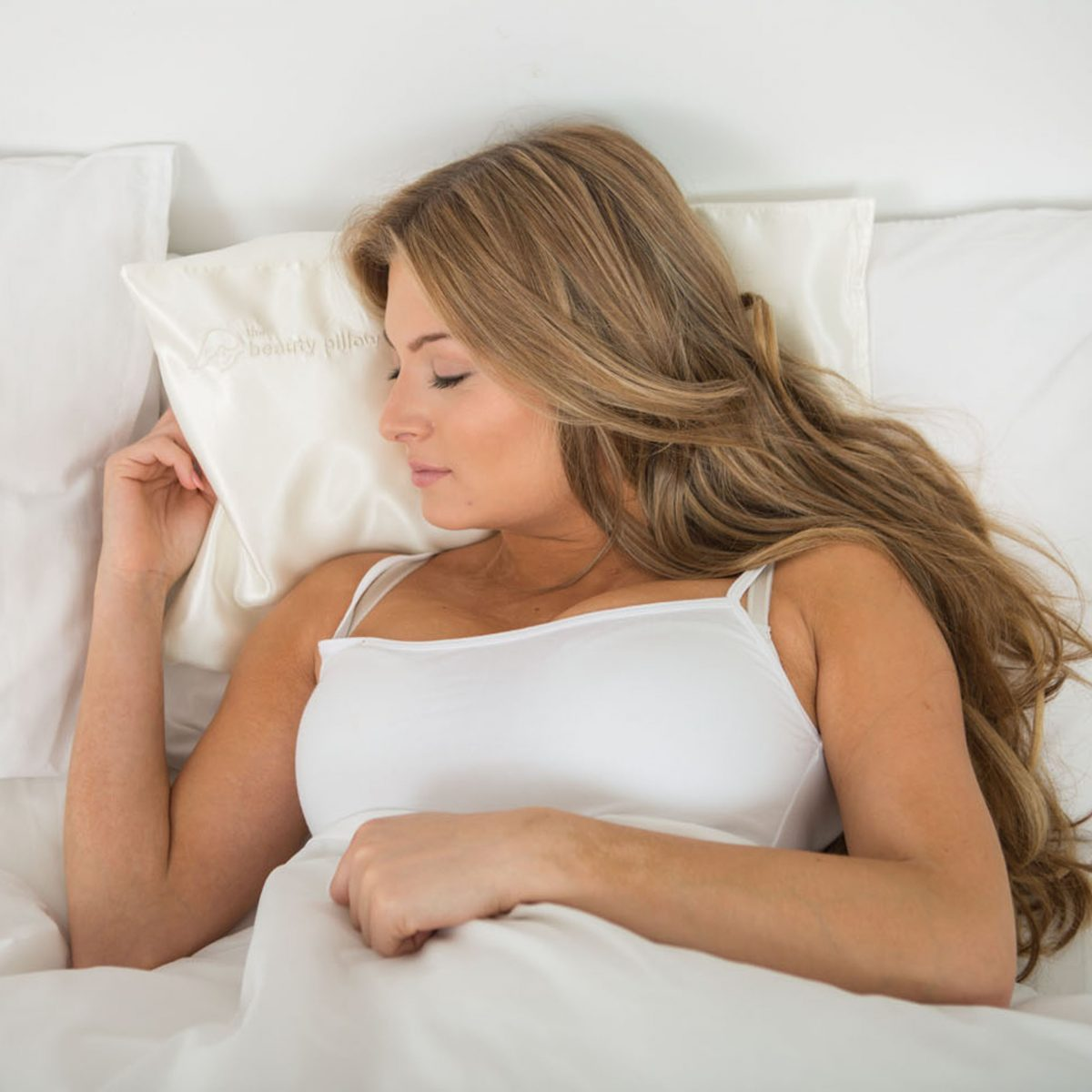 woman sleeping on beauty pillow